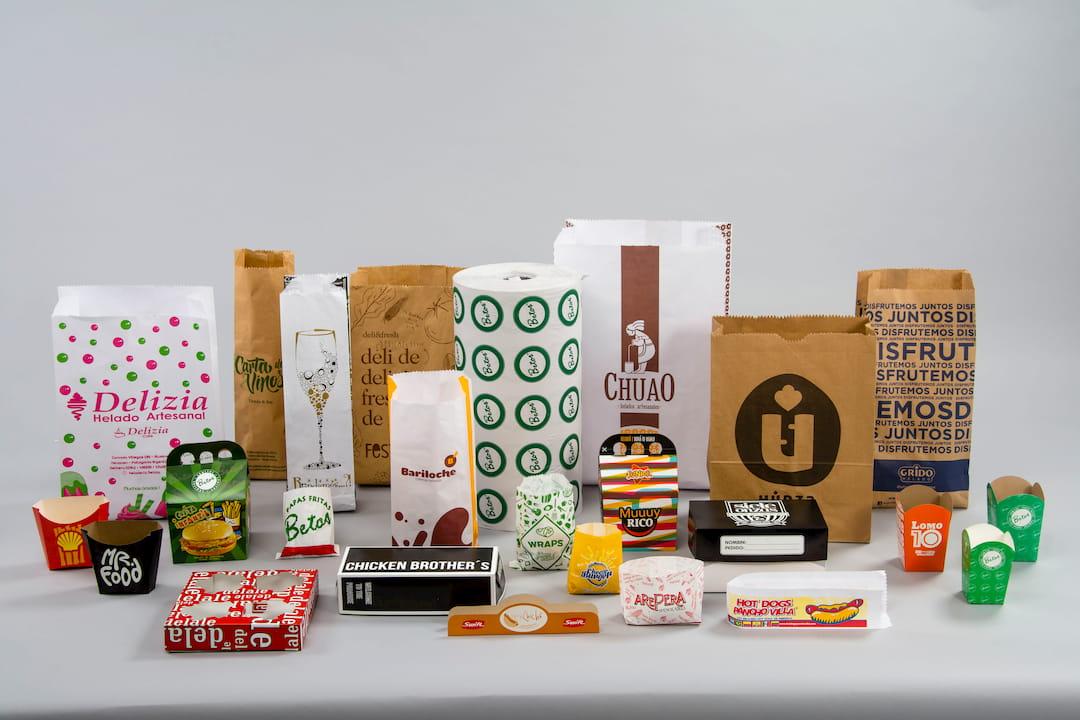 Distintos envases para gastronomía: cajas, estuches, portavasos, portapanchos y mucho más