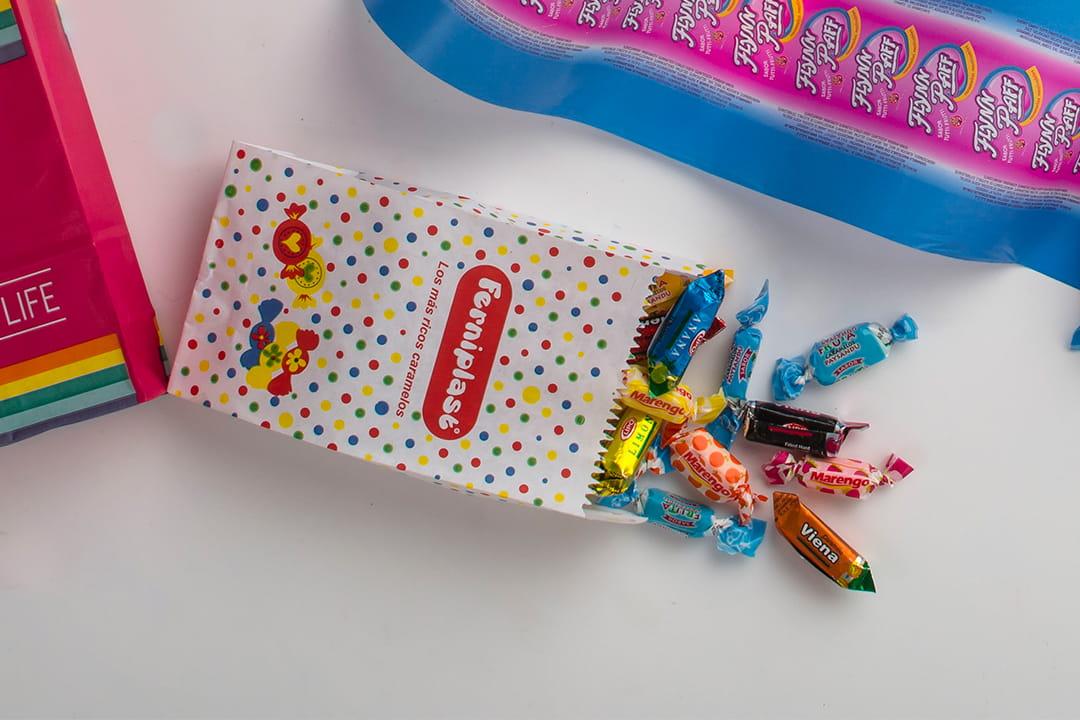 Bolsita para caramelos con fondo americano