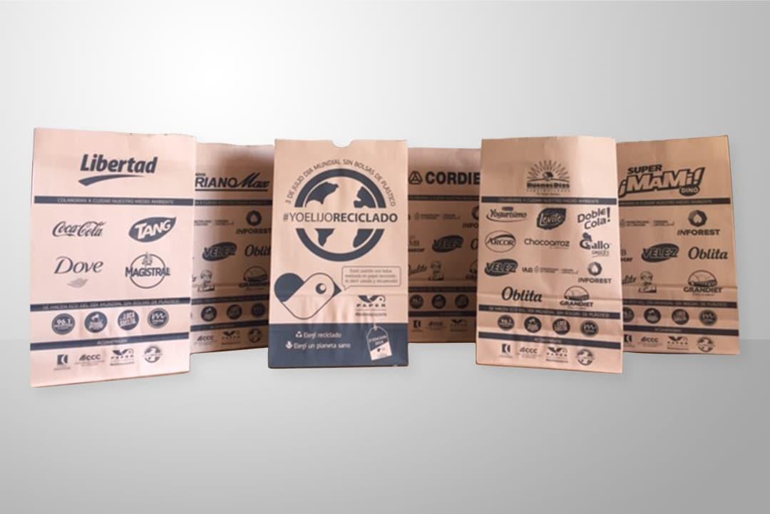 Bolsas de papel para delivery, take away, supermercados, línea de cajas, impresas y personalizadas