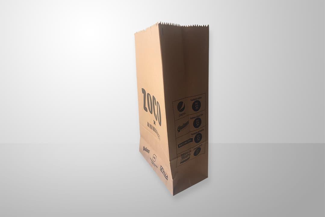 Bolsa de papel para delivery, take away, supermercados, línea de caja, impresas y personalizadas
